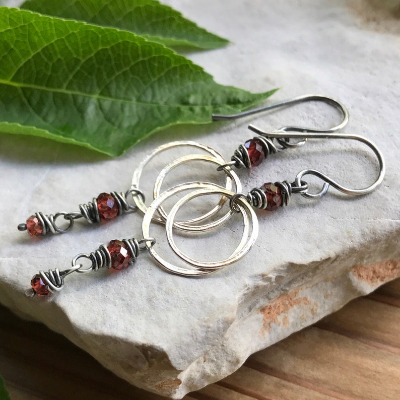 Garnet Earrings Red Gemstone Circle Dangle Earrings Elegant image 0