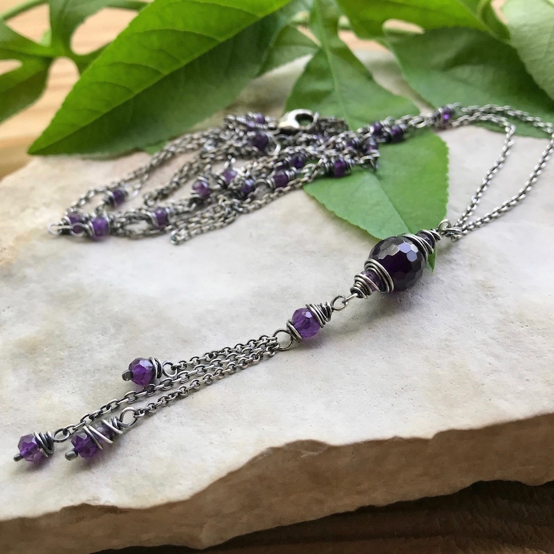 Amethyst Long Layering Necklace Double Wrap Tassel Necklace image 0