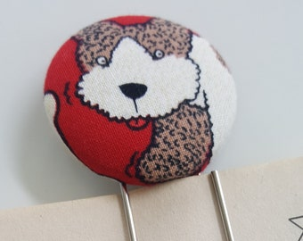 1 Jumbo Terrier Dog Covered Button Bookmarks with Large Paper Clip