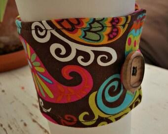 Whimsy Paisley (Hot pink, green orange, yellow, aqua and brown) Java Jacket/Coffee Cup Cozy/Reusable/Mug Cozy