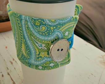 Green, Aqua and White Paisley Java Jacket/Coffee Sleeve with Vintage Button/Coffee Cup Cozy/Reusable/Mug Cozy