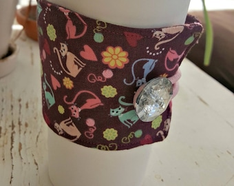 Meow Kitty Cat Java Jacket/Coffee Sleeve with Vintage Button/Coffee Cup Cozy/Reusable/Mug Cozy