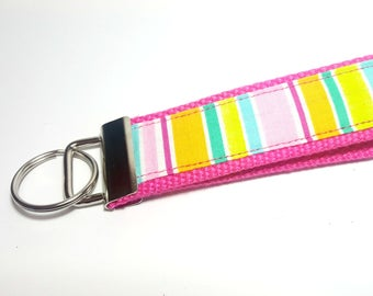 Spring Colors Striped Fabric Wristlet Keychain on Hot Pink Cotton Webbing