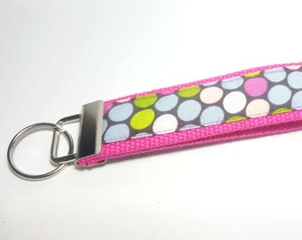 Cotton Candy Pink, Green, White, Gray/Blue Keychain FOB on Pink Heavy Duty Cotton Webbing