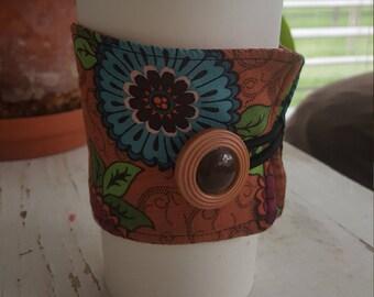 Wrap Around Coffee Sleeve/Aqua and Magenta flowers/Earth Toned/Coffee Cup Cozy/Reusable/Mug Cozy