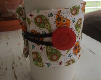 Wrap Around Coffee Sleeve - Red, Green and Gold Paisley/Coffee Cup Cozy/Reusable/Mug Cozy
