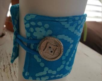 Turquoise and Aqua Marbled Java Jacket/Coffee Sleeve