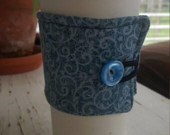 Wrap Around Coffee Sleeve - Two Toned Blue Swirl/Coffee Cup Cozy/Reusable/Mug Cozy