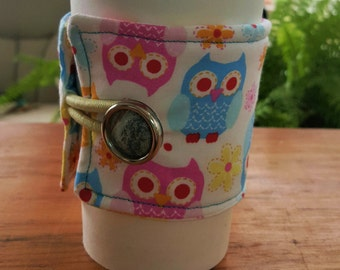 Reusable Coffee or Tea Wrap Around Sleeve: Owl Themed Fabric with Vintage Button/Coffee Cup Cozy/Reusable/Mug Cozy
