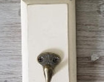 Wood Wall Hook  Antique White 6x3