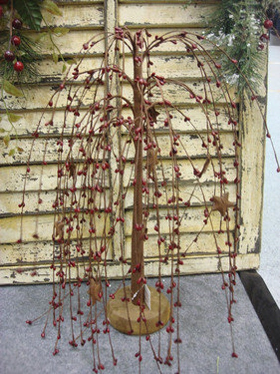 """Weeping Willow Tree Burgundy Pip Berry  24"""""""