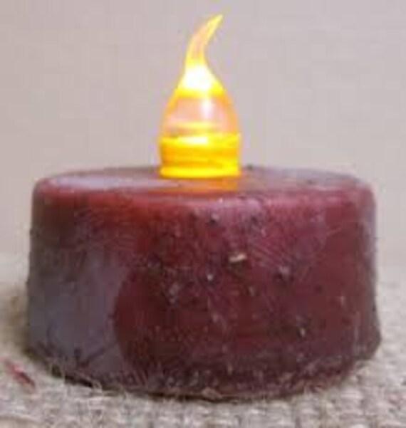 Primitive LED Tealight Candle- Burgundy