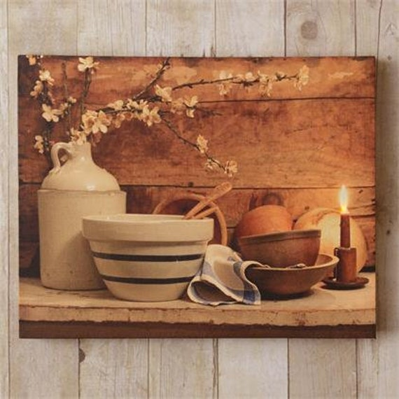 Led Canvas Print w/Timer- Country Kitchen