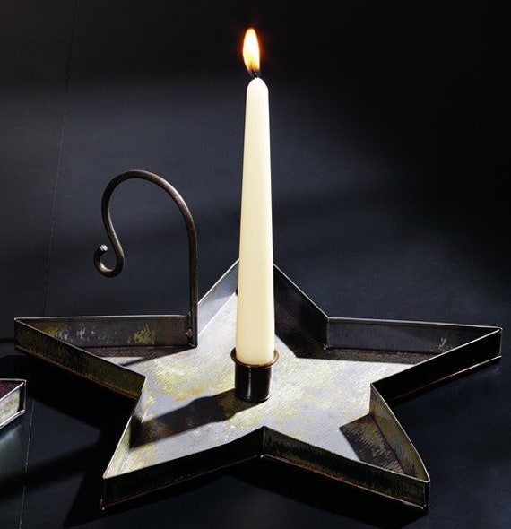 Large Distressed Star Candle Pan
