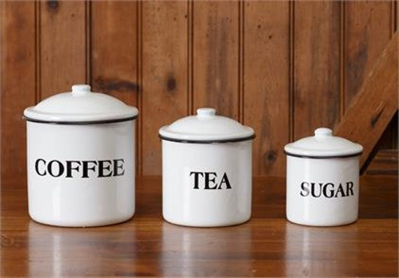 White Enamelware - Canisters Coffee, Tea, Sugar