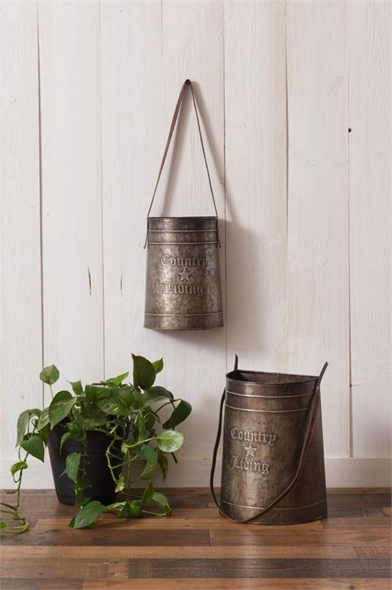 Metal Tins with Leather Handles-Set/2