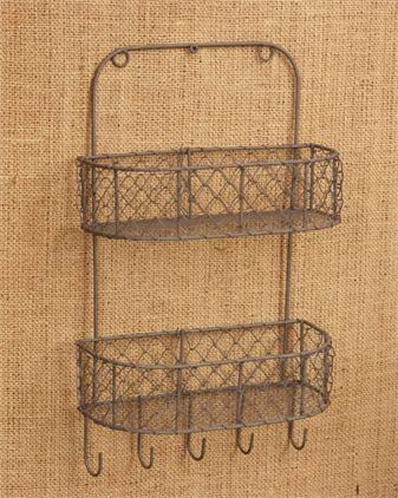 Two Tiered Chicken Wire Basket With Hooks