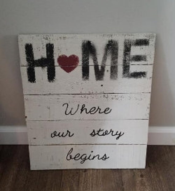 Home where our story begins~ wood sign