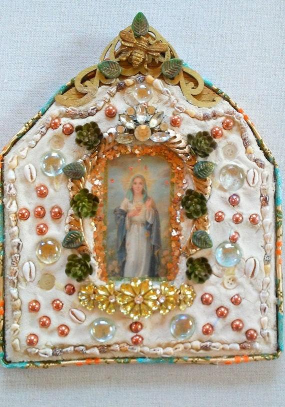 Mother Mary Heart Of One Ness Mosaic Altar Shrine Spiritual Home Decor Divine Feminine Wall Art