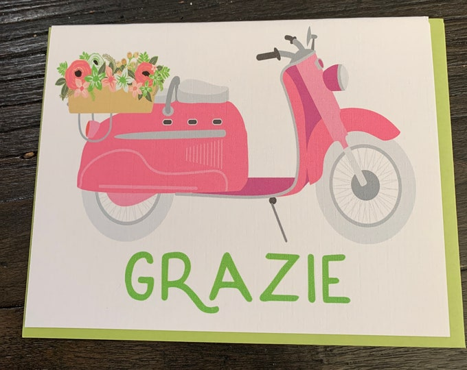 Grazie note card, thank you