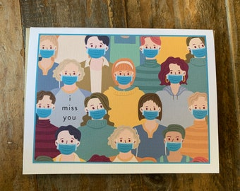 Face mask Miss You  Note Card Any Occasion