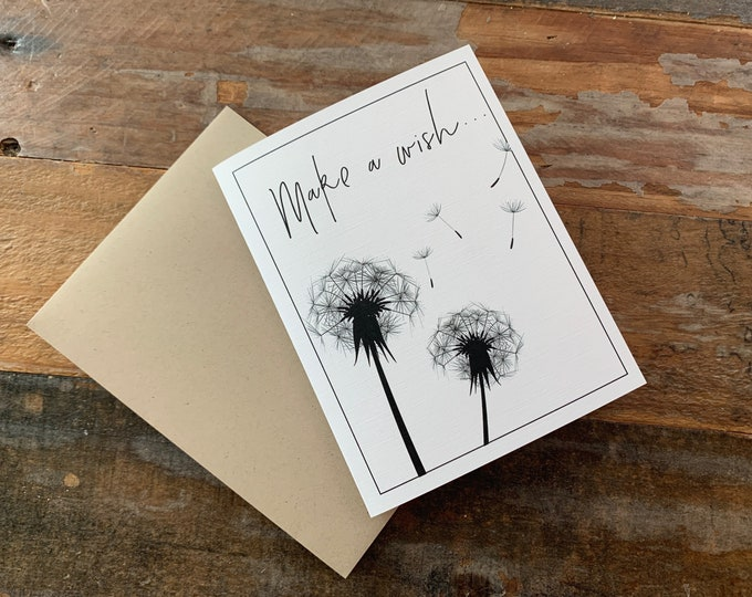"Note Card Dandelion ""Make a Wish"" Blank NoteCard"