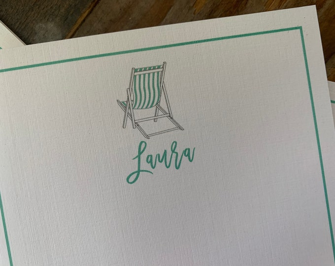 Beach Chair Note Cards set of 15 personalized cards
