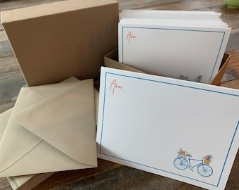 Note cards,Personalized notecards, Blank cards Thank You cards,All Occasion Cards, Customized NAME Boxed Cards 15pk Bicycle Spring Flowers,
