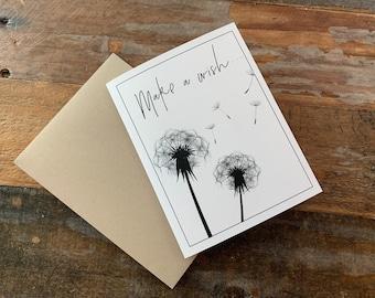 "Note Card Dandelion ""Make a Wish"" Blank NoteCard"