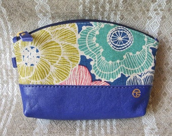 Cotton & Leather Cosmetic Pouch, Linen Flower in blue