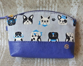 Cotton & Leather Cosmetic Pouch, Linen French Bullbog in blue