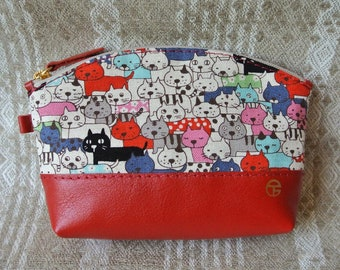 Cotton & Leather Cosmetic Pouch, Linen Cats in red