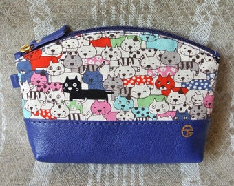 Cotton & Leather Cosmetic Pouch, Linen Cats in blue