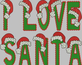 Santa Hat Alphabet Embroidery Designs