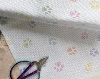Rainbow Paw Print Printed Cross Stitch Aida & Evenweave Fabric - Various Counts And Sizes - Perfect For Pet Portraits!