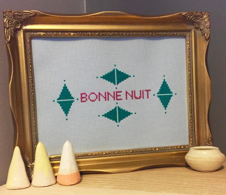 Bonne Nuit Art Deco Cross Stitch Chart Instant Download PDF image 0