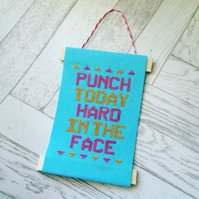 Punch Today Hard In The Face Instant Download Cross Stitch image 0