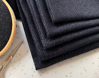 Midnight Black Sparkle Printed Glitter Finish Cross Stitch Aida & Evenweave Fabric - Various Sizes And Counts