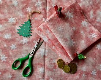 Festive Flakes Pink-Red Snowflake Printed Cross Stitch Aida & Evenweave Fabric - Various Sizes And Counts - Christmas And Holiday Projects