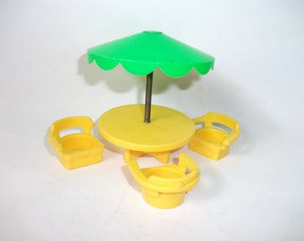 Vintage Fisher Price Umbrella Table with Chairs for Little People