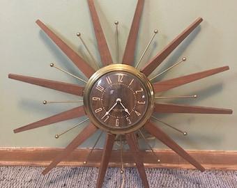 Vintage Westclox Sunburst Teak Wood Electric Wall Clock Starburst