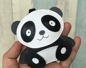 12% off - Big size - Cody the Panda cowhide leather charm ( Black / white )