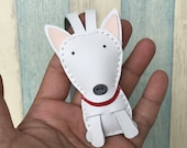 Small size - Tina the bull terrier cowhide leather charm ( White )