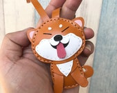 Small size - Flora the Shiba Inu vegetable tanned leather Bag charm  ( Brown / white )