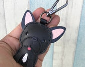 25% discount off - Small size - Sam The French Bulldog cowhide leather charm with black lobster clasps version ( Black )