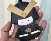 12% off - Big size - Eiji the Samurai cowhide leather charm ( Black )