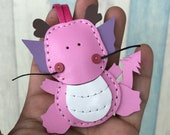 Small size - Puff the Dragon cowhide leather charm ( Baby Pink )