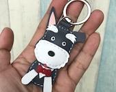 Small size - Bingo the schnauzer cowhide leather keychain ( Dark grey )