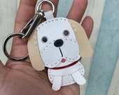 Small size - Ginger the Shih Tzu cowhide leather charm ( White / beige )