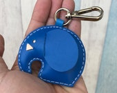 Small size - Laura the Elephant cowhide leather charm with lobster clasps version ( Dark Blue )